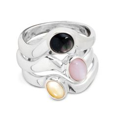 Carolyn Pollack Jewelry | Pebble Beach Stacking Mother of Pearl Multi Gemstone Ring Set
