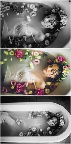 milk bath flower crown photoshoot - Google Search