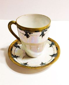 Antique Weimar Chocolate Demitasse Cup