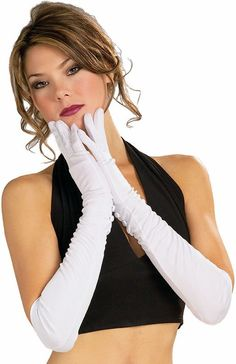 Long Ladies Gloves - White, Black, Red - Candy Apple Costumes