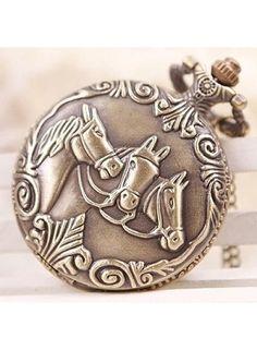 Huismerk Bronze Ketting Zakhorloge Paarden Patroon http://www.ovstore.nl/nl/meer-categorieen/sieraden/page2.html