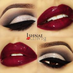 Wedding makeup possibility. Except a lot lighter on the eyeliner and a little lighter shade of red.