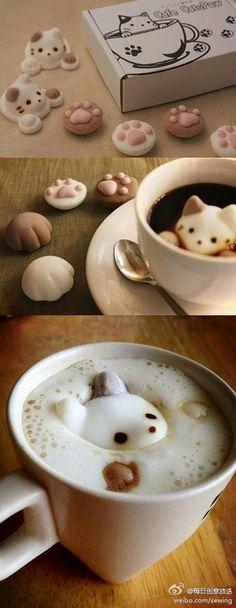 owl【eat有尽有】来自日本棉花糖专卖店「やわはだ」的 CafeCat BOX,萌物哇!……可直接食用,放到咖啡或者红茶等饮品中还能浮起来~好想来一杯这样的咖啡呀,萌到心里去了~