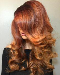 Long Copper Balayage Hair