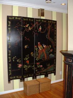 how to hang a folding oriental decorative screen on the wall reeder redecoration