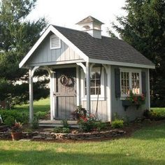 Love the colors of this garden shed. - CLICK THE IMAGE for Lots of Shed Plan Ideas. garden shed 23 Super Cool Backyard Garden Ideas Diy Storage Shed Plans, Diy Shed, Storage Sheds, Backyard Sheds, Outdoor Sheds, Backyard Studio, Pergola, Gazebo, Potting Sheds