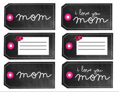 Free printable chalkboard Mother's Day gift tags from Poppytalk Happy Mothers Day Banner, Mothers Day Crafts For Kids, Fathers Day Crafts, Mothers Day Cards, Diy Gifts For Men, Handmade Gifts, Mother's Day Printables, Free Printable Tags, I Love You Mom