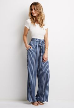 Striped Self-Tie Waist Pants | Forever 21 - 2000079957