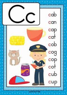 Alphabet Posters with CVC Words by Lavinia Pop Phonics Reading, Teaching Phonics, Kindergarten Reading, Preschool Learning, Teaching Reading, Preschool Activities, Phonics Flashcards, Alphabet Phonics, Phonics Words