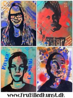 -5th.. Use class I pads to take selfie and edit? email to print? -Use liquid watercolor in mini spray bottles plastic stencils?  stamp and rub texture plates. Photo transfer portrait or mod podge paper on or use transparency/projector fill in black?