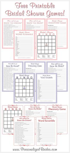 Free printable bridal shower games!  Keywords:  #printablebridalshowergames #freebridalshowergames #jevelweddingplanning Follow Us: www.jevelweddingplanning.com  www.facebook.com/jevelweddingplanning/