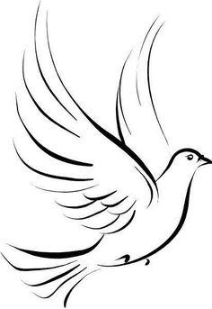 Simple Black Dove Tattoo