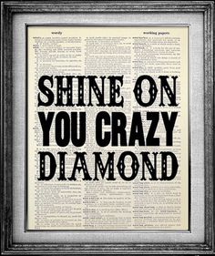Pink Floyd Shine on You Crazy Diamond Dictionary Print