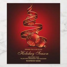Corporate Holiday Wine Labels | Elegant Christmas #corporate #christmas #wine #labels #business