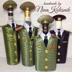 Подарочное оформление бутылок ручной работы. Ярмарка Мастеров - ручная работа. Купить Оформление подарочных бутылок. Подарок военному мужчине. Handmade.