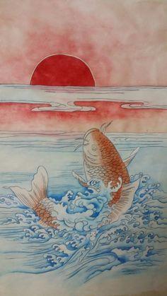 잉어가 용문을 뛰어 넘으면 용이되어 승천한다고하여 등용문의 의미를 갖고있는 잉어도. 관직,시험등에 합... Korean Painting, Japanese Painting, Japanese Koi Fish Tattoo, Japan Art, Fish Art, Graphic Design Inspiration, Vector Art, Art Drawings, Illustration