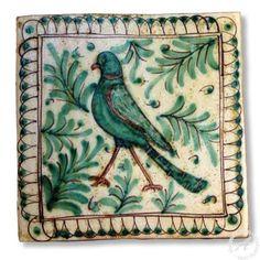 """Sicilian Tile """"Bird"""" 5, Handmade Italian Tile"""