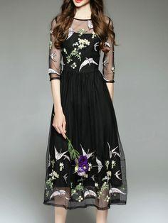 Shop Black Sheer Gauze Embroidered Long Dress online. SheIn offers Black Sheer…