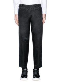 ALEXANDER MCQUEEN Side Stripe Satin Cropped Jogging Pants. #alexandermcqueen #cloth #pants