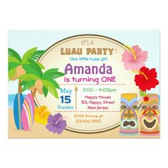 Luau Birthday Party Invitations Luau Birthday Invitation
