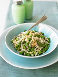Whole Wheat Orzo with Peas, Asparagus, and Toasted Pine Nuts   If you've never eaten orzo before, you might be tempted to think it's the most tender, flavorful rice you've ever tasted. It's actually dried pasta shaped like plump grains of rice.