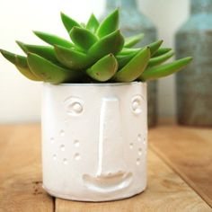 Make a cute face planter for succulents. A smart recycling project.