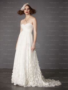 Empire Sweetheart Chiffon Sweep Train White Ruffles Wedding Dresses at Millybridal.com