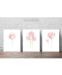 Peony Shabby Chic Paper Flower Bouquet Art Print set of 3. Olive Green Stems Light Pink Flowers Decoration. Floral Illustration Peonies Bud Baby Girl Nursery Room Painting. Abstract Wall Decor. A price is for the set of three Peony Art Prints as in the first Picture.  Type of paper: Prints up to (42x29,7cm) 11x16 inch size are printed on Archival Acid Free 270g/m2 White Watercolor Fine Art Paper and retains the look of original painting. Larger prints are printed on 200g/m2 White Se...