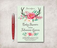 Floral Baby Shower Invitation Printable, Birthday Invitation, Digital File -  Pink Baby Shower Invite - pinned by pin4etsy.com