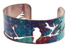 Bird Cuff, Flame Painted Copper Patina, Little Rock Jewellery Studio, Robyn Cornelius