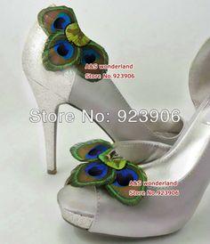 peacock  Feather Shoe Clips Bridal Feathers shoes clip 16pcs=8pairs/lot  DFOG4