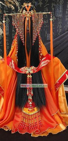 Ancient Chinese Princess Clothing and Hair Accessories Complete Set