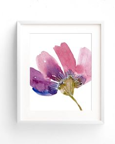 Watercolor print of flower, Abstract watercolor painting of large oversized flower head Abstract painting in pink and purple wall art decor by OnceuponpaperCo on Etsy