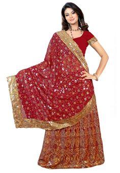 Red Color Georgette Designer Lehenga Saree