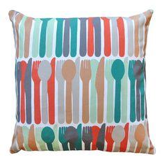Cutlery Pattern Cushion - Bubble Tree Design Studio