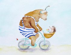 Fahrrad tragen Igel Kinderzimmer Art Beach Badeanzug Radfahren on Etsy, 21,09€