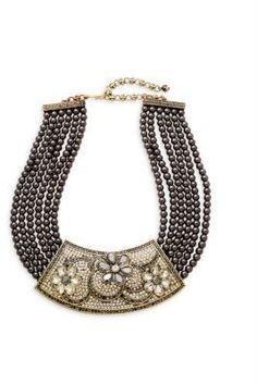 Heidi Daus Floral Plaque Faux Pearl Multi-Strand Necklace