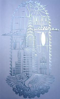 Paper cut of The Chrysler Building, New York.