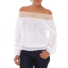 On or Off the Shoulder Crochet Trim Top - Apparel and Cover-Ups by Elan - Events