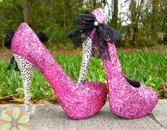 Thought, what if you did something crazy for your shoes? Incorporate some of your personality? Like sparkly, hot pink pumps with a zebra or leopard print?