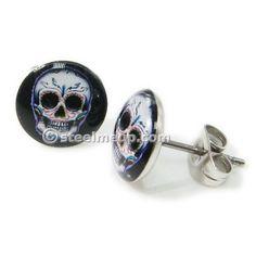 Pair Stainless Steel Round Skull Post Stud Earrings 9mm