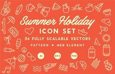 Summer Holiday Icon Set & Pattern by iambolders on Business Brochure, Business Card Logo, Vector Pattern, Pattern Design, Gifts For Young Men, Holiday Icon, Camping Set, Summer Icon, Typography Design Layout