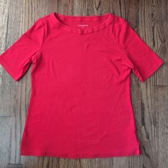 Talbots Red 1/2 sleeve tee Soft Cotton tee from Talbots.  Worn once, small spot of pilling In the back. See pic. Talbots Tops Tees - Short Sleeve
