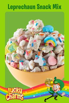 Lucky Charms™ and Rice Chex™ cereals are coated with melted white vanilla baking chips, topped with rainbow candy sprinkles and tossed with colorful marshmallows for a delicious cereal snack mix that is sure to be a hit with kids of all ages. Yummy Snacks, Yummy Treats, Sweet Treats, Yummy Food, Holiday Treats, Holiday Recipes, Lucky Charms Leprechaun, Mardi Gras, Don Perignon