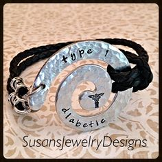 Leather Medical Alert Bracelet 1 sided by SusansJewelryDesigns