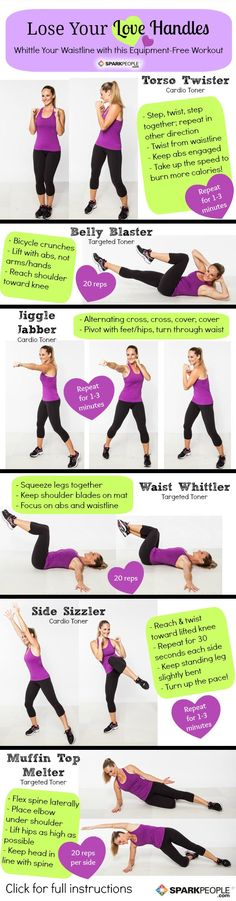 The 'Lose Your Love Handles' Workout. Super quick workout that really gets results. And you don't need any equipment, either! I do this almost every day, LOVE IT!! | via @SparkPeople #workout #exercise #fitness #homeworkout
