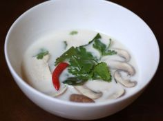 Serious Eats - Thai Coconut Chicken Soup (Tom Kha Gai) with Mushrooms Thai Coconut Chicken, Healthy Chicken Soup, Thai Coconut Soup, Vegetarian Chicken, Chicken Soup Recipes, Thai Chicken, Thai Soup, Coconut Milk, Chicken Avacado