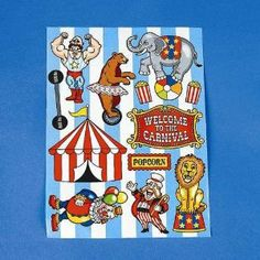 "Carnival Make-A-Stickers - 12 sheets per unit by SmallToys. $1.99. 1.5"" - 2.25"". 12 stickers per sheet,12 sheets per pack. 1.5"" - 2.25"", 12 stickers per sheet, 12 sheets per pack. Make your own sticker circus scene from these coordinated stickers!"