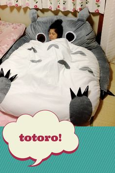 COOL sleeping bag-sofa thing. Would be PEFECT to use for movie nights. So cozy-looking. It's called a Totoro and you can buy it on Amazon + ebay.