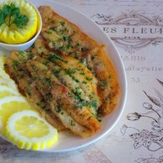 Fillets of Sole Meuniere - The dish that transformed Julia Child from a person who simply loved to eat into someone who loved to cook. Not GF but may be able to sub w/diff flour. Fish Dishes, Seafood Dishes, Fish And Seafood, Main Dishes, Shellfish Recipes, Seafood Recipes, Cooking Recipes, Healthy Recipes, Tilapia Recipes